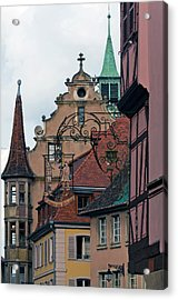 Street With Church Steeple Acrylic Print by John Elk Iii