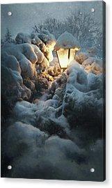 Streetlamp In The Snow Acrylic Print