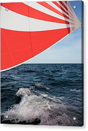 Striped Spinnaker In Sea Acrylic Print