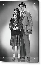 Student Couple Posing In Studio, B&w Acrylic Print by George Marks