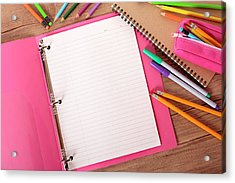 Students Desk With Notebook Binder And Acrylic Print by Hatman12