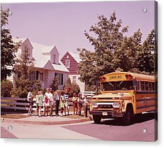 Students Waiting To Board Bus Acrylic Print by H. Armstrong Roberts