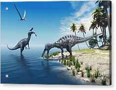 Suchomimus Dinosaurs - A Large Fish Is Acrylic Print