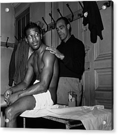 Sugar Ray Massage Acrylic Print by Bert Hardy