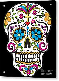 Sugar Skull Day Of The Dead Acrylic Print