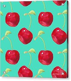 Summer Fruit Pattern. Watercolor Cherry Acrylic Print