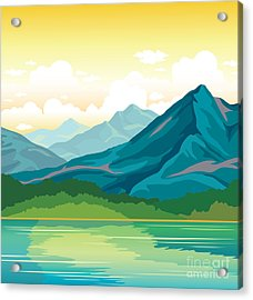 Summer Landscape - Blue Mountains With Acrylic Print