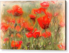 Summer Poppy's Pastel Art Acrylic Print
