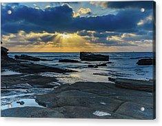 Sun Rays Burst Through The Clouds - Seascape Acrylic Print