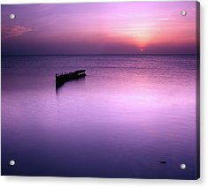 Sun Sets On A Sunken Boat Acrylic Print
