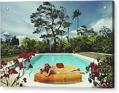 Sunbathing In Barbados Acrylic Print by Slim Aarons
