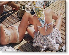 Sunbathing In Nice Acrylic Print by Michael Ochs Archives