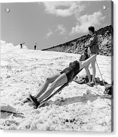 Sunbathing Skier Acrylic Print by Don