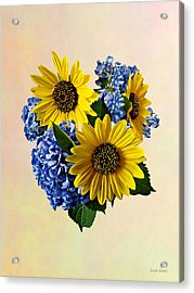 Sunflowers And Hydrangeas Acrylic Print by Susan Savad