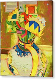 Sunflowers In Majolica Pitcher Acrylic Print