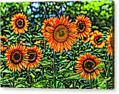 Sunflowers Stained Glass Art Acrylic Print