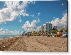 Sunny Day At Hollywood Beach Acrylic Print