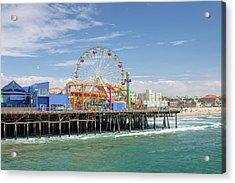 Sunny Day On The Santa Monica Pier Acrylic Print