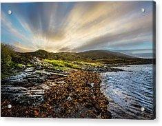 Sunrays At Dawn Along The Coast Acrylic Print