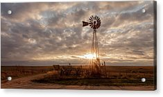 Acrylic Print featuring the photograph Sunrise And Windmill by Scott Bean