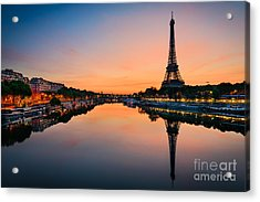 Sunrise At The Eiffel Tower, Paris Acrylic Print