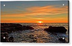 Sunrise By The Mediterranean Sea In Oropesa, Castellon Acrylic Print