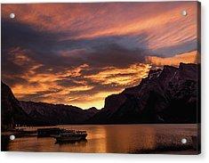 Sunrise Over Lake Minnewanka, Banff National Park, Alberta, Cana Acrylic Print
