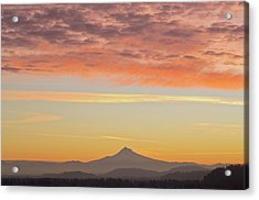 Sunrise Over Mount Hood From Mount Tabor Acrylic Print by Design Pics / Dan Sherwood