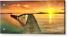 Sunrise Over The Sea. Pier On The Acrylic Print