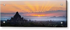 Sunrise Over The Temples Of Bagan Acrylic Print by Jon Hicks