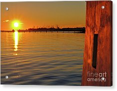 Sunset And Old Watermill Acrylic Print
