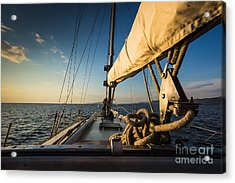 Sunset At Sea On Aboard The Yacht Acrylic Print