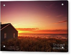 Sunset At Snettisham Beach, Norfolk Acrylic Print