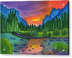 Sunset By The River Acrylic Print