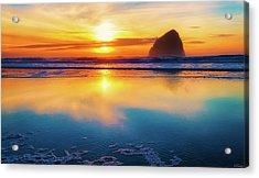 Sunset Haystack Rock Acrylic Print