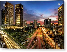 Sunset In Jakarta Acrylic Print by The Trinity