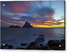 Sunset In The Mediterranean Sea With The Island Of Es Vedra Acrylic Print
