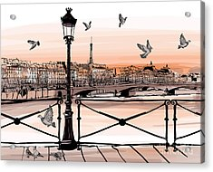 Sunset On Seine River From Pont Des Acrylic Print