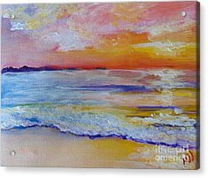 Acrylic Print featuring the painting Sunset On The Gulf by Saundra Johnson