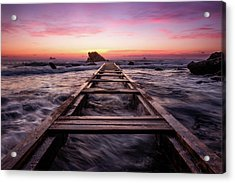 Sunset Shining Over A Wooden Pier In Livorno, Tuscany Acrylic Print