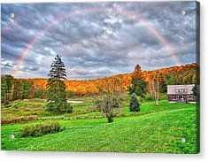 Acrylic Print featuring the photograph Sunset Storm Rainbow - Upstate New York by Lynn Bauer