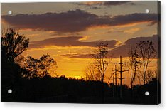 Sunset With Electricity Pylon Acrylic Print