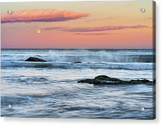 Super Moon And Sunset At Sozopol Town Beach Acrylic Print