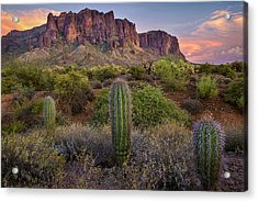 Superstitions And Cactus At Lost Dutchman  Acrylic Print