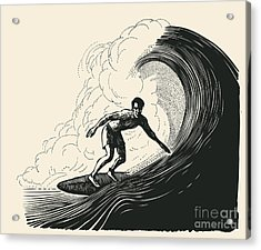 Surfer And Big Wave. Engraving Style Acrylic Print