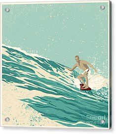 Surfer And Big Wave. Vector Acrylic Print