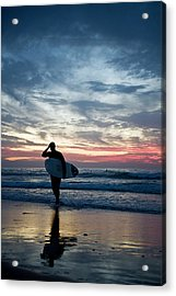 Surfer At The Ocean At Sunset Acrylic Print by Daniel Reiter / Stock4b