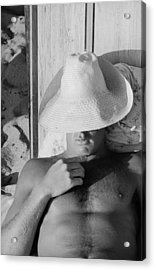 Surfer Catching Some Sleep Acrylic Print by Loomis Dean