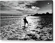 Acrylic Print featuring the photograph Surfer Silhouette by John Rodrigues