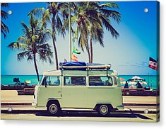 Acrylic Print featuring the photograph Surfer Van by Top Wallpapers
